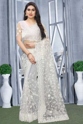 Beautiful Look Designer Saree Net Fabric With Embroidered Blouse