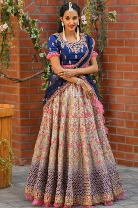Beautiful Looking Peding Blue Color Bridal Malai Satin Lehenga Choli