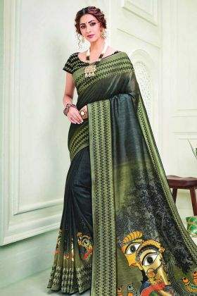 Beautiful Looking Wedding Saree In Black Olive Green Color