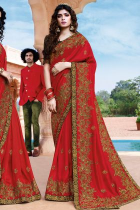 Beautiful Looking Wedding Saree In Red Color