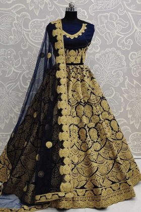 Beautiful Navy Blue Bridal Wear Art Silk Designer Lehenga Choli