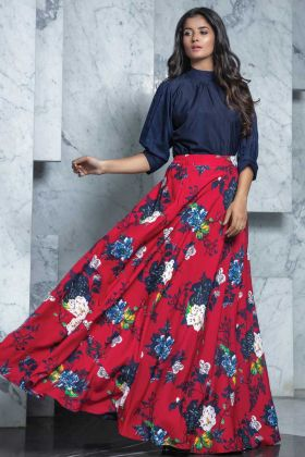 Beautiful Navy Blue Readymade Rayon Printed Top With Crepe Skirt