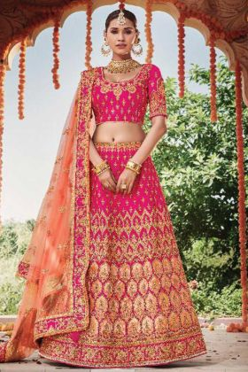 Beautiful Pink Color Bridal Wear Designer Lehenga Choli For Wedding