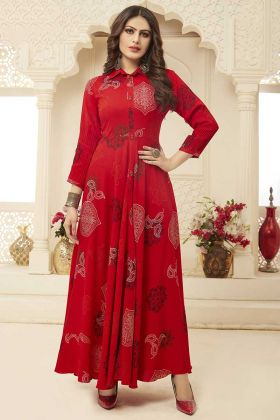 Beautiful Readymade Rayon Gown In Red Color
