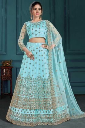 Beautiful Sky Blue Wedding Wear Net Fabric Designer Lehenga Choli