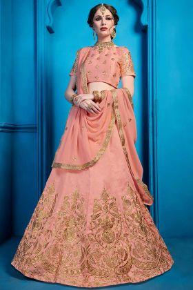 Beautiful Art Silk PartyWear Lehenga Peach Color With Zari