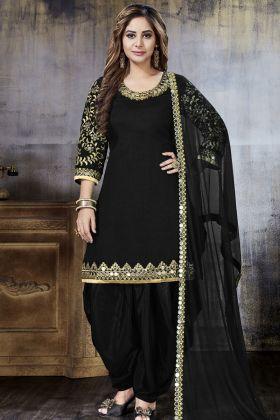 Beautiful Black Art Silk Punjabi Salwar Kameez