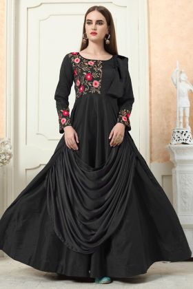 Beautiful Black Color Embroiderd Gown