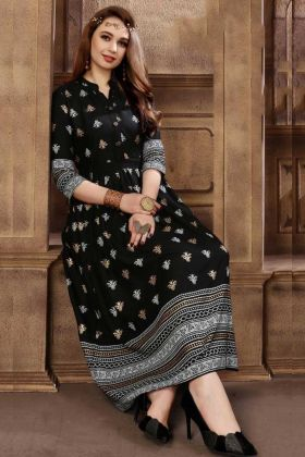Beautiful Black Color Rayon Designer Kurti