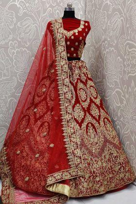 Beautiful Bridal Red Lehenga Choli With Velvet Choli Design