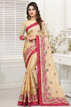 Beautiful Cream Designer Saree Online