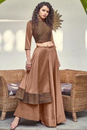Beautiful Crop Top Brown Jacquard With Skirt In Zari Work