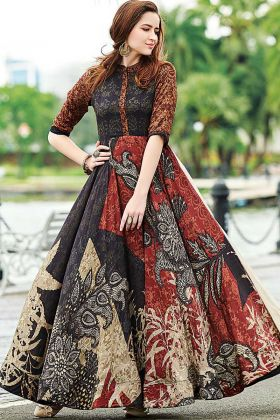 Beautiful Designer Muslin Cotton Digital Printed Gown MultiColor