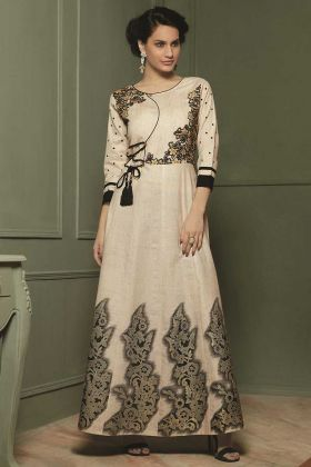 Beautiful Designer Readymade Long Kurti Cream Color