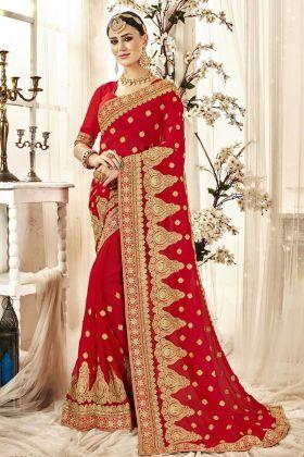 Beautiful Embroiderd Red Bridal Saree