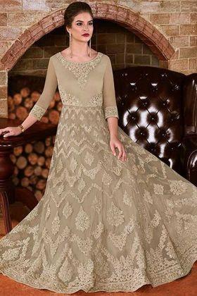 Beautiful Embroidery Work Beige Net Wedding Anarkali Dresses