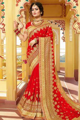 Beautiful Georgette Red Bridal Saree