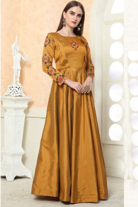 Beautiful Gold Color Taffeta Silk Gown Online