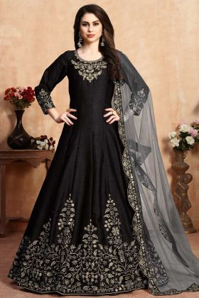 Beautiful Heavy Designer Floor Length Anarkali Suit Black Color