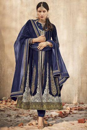 Beautiful Heavy Designer Velvet Anarkali Suit Royal Blue Color
