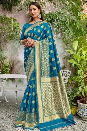 Beautiful Jacqaurd Silk Sky Blue Color Pattu Sarees