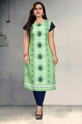 Beautiful Light Green Color Crepe Printed Kurti