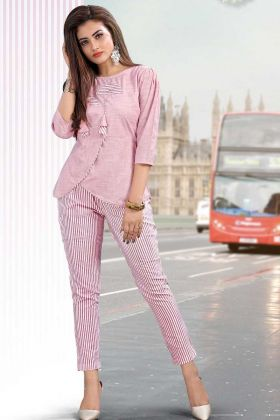 Beautiful Lining Prints In Cotton Pink Western Wear