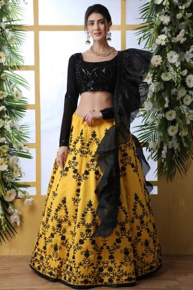 Beautiful Look Art Silk Designer Lehenga Choli Yellow