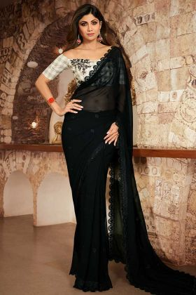 Beautiful Look Bollywood Saree In Georgette Black Color With Checks Blouse