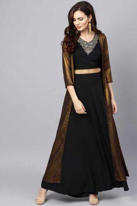 Beautiful Look Readymade Indo-Western Black Top And Bottom Copper Shrug