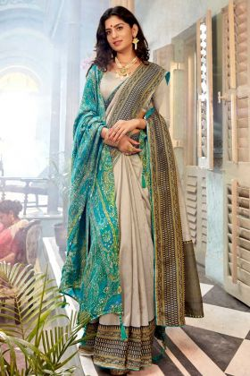 Beautiful Off White Color Saree With Fancy Blouse