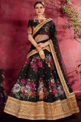 Beautiful Party Wear Lehenga Choli With Digital Print Black Art Sillk Fabric
