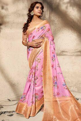 Beautiful Pink Color Art Silk Designer Saree