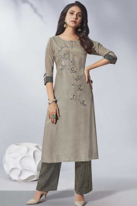Beautiful Pure Viscose Dusty Grey Designer Kurti With Bottom Set