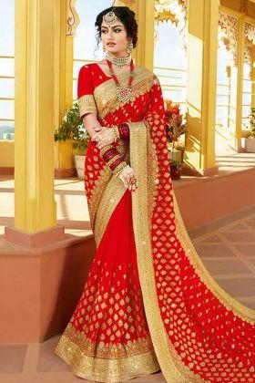 Beautiful  Red Bridal Saree