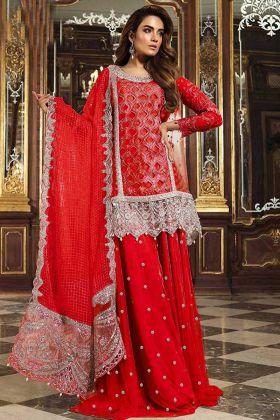 Beautiful Sharara Salwar Kameez Heavy Net In Red Color