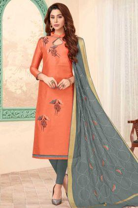 Beautiful Slub Cotton Churidar Salwar Suit Peach Color
