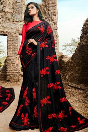 Beautiful Soft Silk Black Heavy Designer Saree