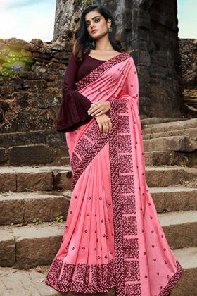 Beautiful Soft Cotton Heavy Designer Saree Pink Color