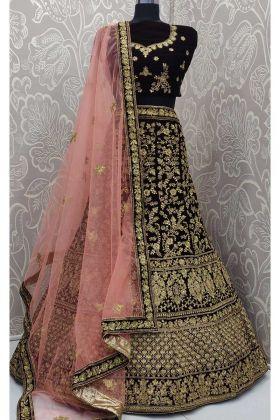 Beautiful Velvet Bridal Lehenga Dark Maroon Color With Zari Embroidery