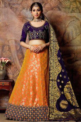 Beautiful Weaved Jacquard Silk Lehenga
