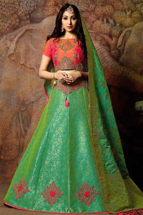 Beautiful Weaved Jacquard Silk Lehenga