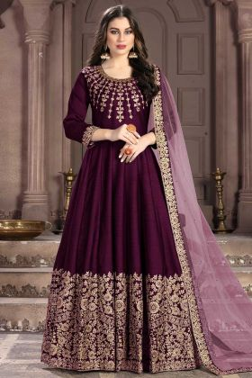 Beautiful Wine Long Anarkali Dress Light Purple Color Dupatta
