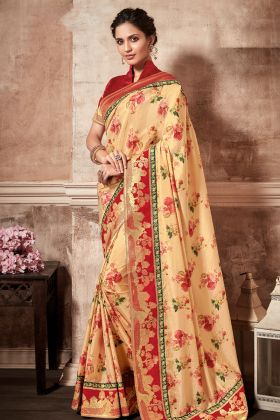 Beautiful Yellow Printed Silk Saree