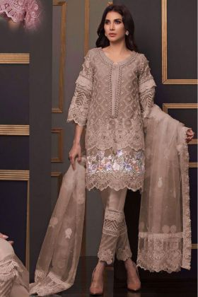 Beige Brown Pakistani Suit Collection for Eid with ButterFly Net Fabric with Botton and Inner Santoon