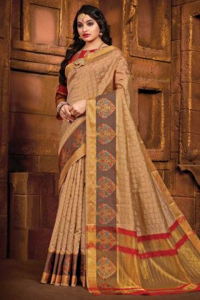 Beige Color Art Silk Party Wear Saree