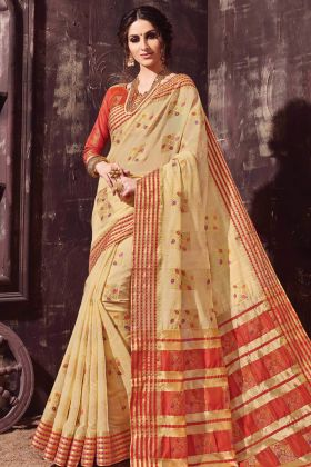 Beige Color Cotton Silk Weaving Saree