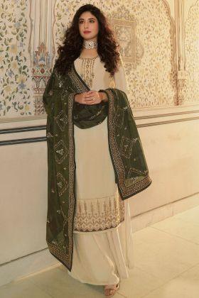 Beige Color Designer Embroidered Georgette Sharara Suit