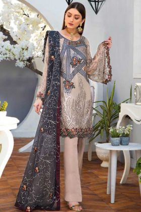 Beige Color Designer Pakistani Suit With Embroidery Work