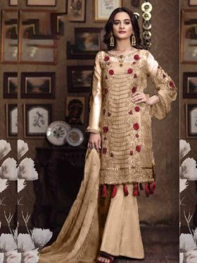 Beige Color Faux Georgette Pakistani Salwar Suit With All Over Embroidery Work